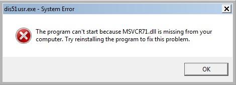 Скачать msvcr71 dll для windows 7 торрент. Как скачать и исправить ошибку отсутствует msvcr71.dll в Windows 7,8,10 x64 и x32